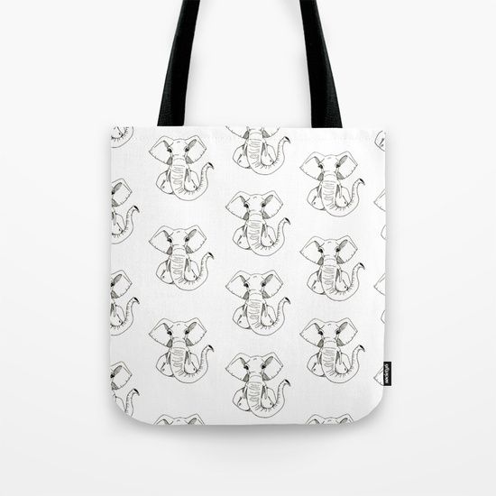 """They are washable, feature original artwork on both sides and a sturdy 1"""" wide cotton webbing strap for comfortably carrying over your shoulder.  ABOUT THE ART The elephant woman is patient. Elephant head on a woman's body. #graphic-design #ink #pattern #black-and-white #pop-art #comic #illustration #stencil #elephant #halloween #woman #nude #head #animal #girl #body #portrait #piercing #shaman #line   black #black"""