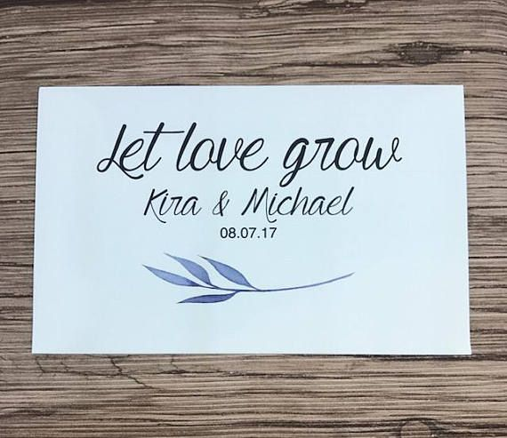 Custom Seed Packets, Favor Envelopes, 50 Pack Wedding Favours, Let Love Grow Seeds, Wedding Seed Packets