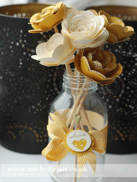 Gorgeous! Spiral flower vase of flowers using Stampin Up supplies by Michelle Last