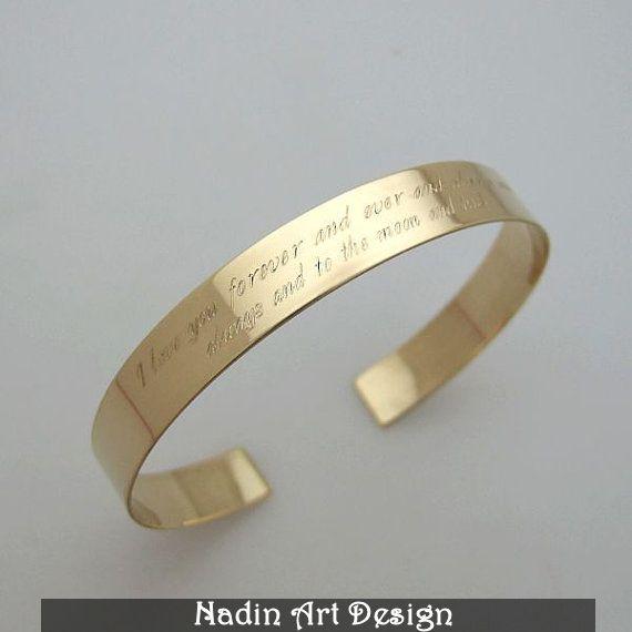 Goldarmband mit Nachricht / Gravur Schmuck von NadinArtDesign auf DaWanda.com