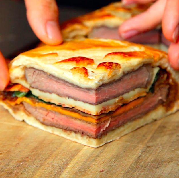 Seven Layer Steak Sandwich. And feast!