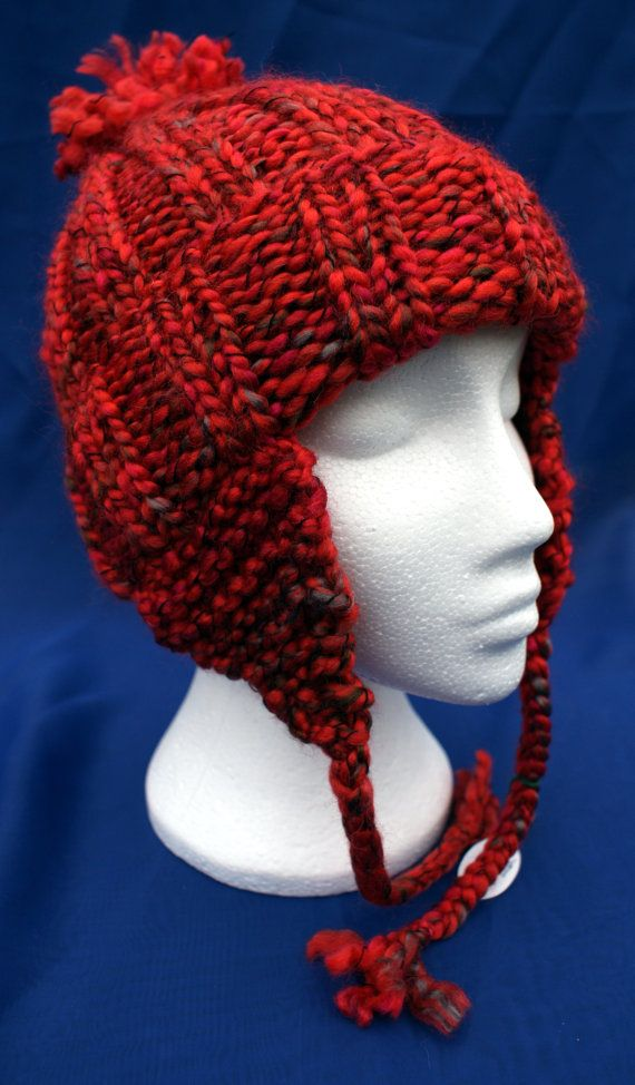 Hand knitted woolly earflap hat with bobble in by LambsWoolWares