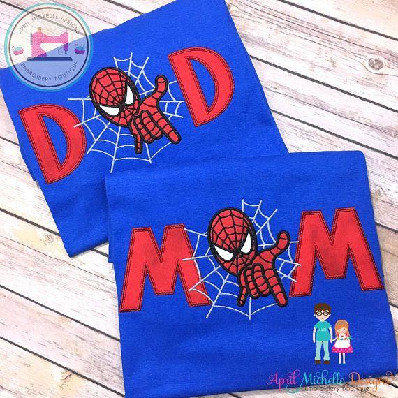 e7c5a6fa Spiderman Birthday Shirt, Personalized Spiderman, Mom or Dad Appliqued Shirt,  Spiderman Family Birthday Shirt, Matching Birthday Shirt