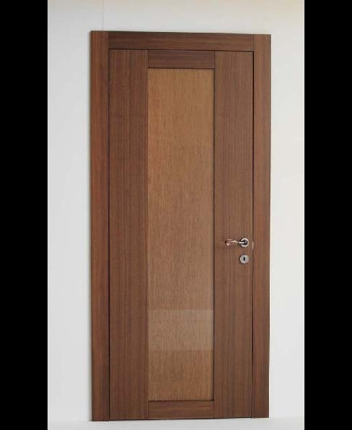 VEGA - Interior door with Canaletto walnut veneer and Organza insert. Modern and elegant door available as swinging or sliding door. Customizable with hand-made Mademoiselle or Euphoria decorations; with StoneRoses, StarDust, Silver, or Gold inserts; and with Line engraving. Designer door with invisible  hinges, magnetic lock ready for traditional handle, door frame made of fir blockboard 15 mm thick, blockboard door frame.