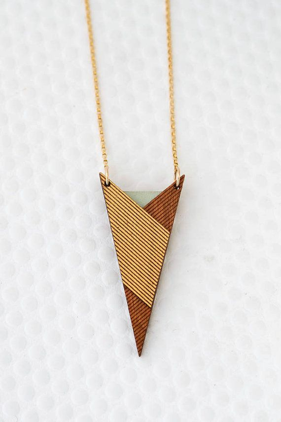 Trekkie Triangle Necklace in Icy Mint Green – Gold Filled / Modern, Laser Etched / Geometric Wooden Jewelry