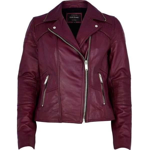 River Island Dark pink leather biker jacket ($82) ❤ liked on Polyvore featuring outerwear, jackets, coats, tops, leather jackets, sale, leather biker jacket, purple jacket, purple leather jacket and quilted biker jacket