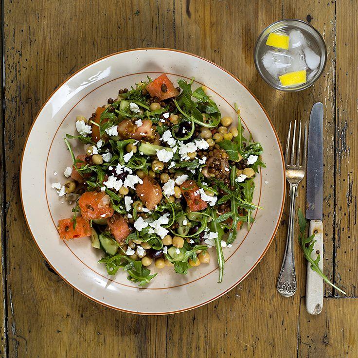 salat med kikerter, linser, vannmelon og ruccola 2