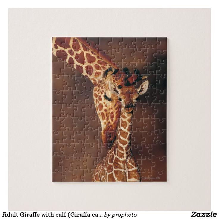 Adult Giraffe with calf (Giraffa camelopardalis) Jigsaw Puzzle