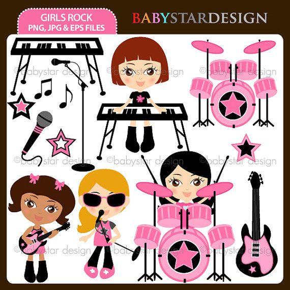 Girls Rock Clip Art Set by babystardesign on Etsy, $5.95