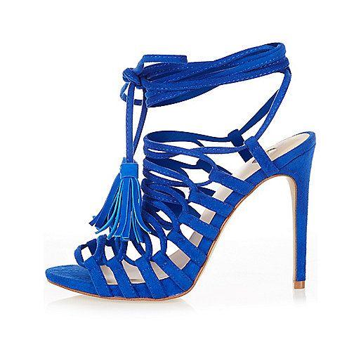 Blauwe sandalen met kwastje en bandjes - Sandalen met hak - schoenen / laarzen - dames