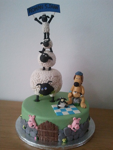 Shaun the Sheep cake - fun design but not much cake to eat :)