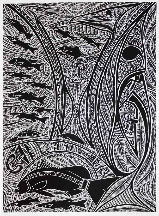 """Murris In Ink: A Printmaking exhibition by Umbrella Studio Contemporary Arts and artists James Billy, Shirley Yumala Collins, Donna Ives, Ian Kaddy, Gail Mabo, Susan Nampitjin Peters and Aicey Zaro. Image: """"Spiritual"""". James Billy."""