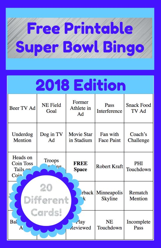 Add some fun to your Super Bowl Party or family gathering with these free printable 2018 Super Bowl Bingo Cards! There are 20 different cards featuring game plays, commercials and more! via @ThriftyJinxy