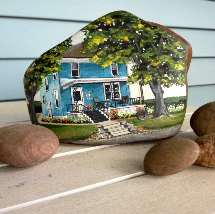 Hand painted house on a rock by Bonnie