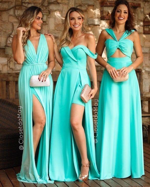 Qual a diferença entre Azul Tiffany e Verde Tiffany? ! Casamento Azul Tiffany | Vestidos de Dama de Honra | Vestidos de Madrinha | Vestidos de Festa | Dresses, Bridesmaid dresses, Formal dresses