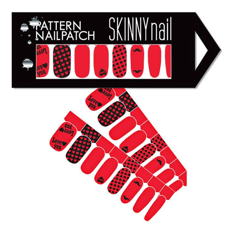 [SKINNY nail] NEW LOVE YOU Red Sexy Nail Art Patch Deco Sticker (10pcs)
