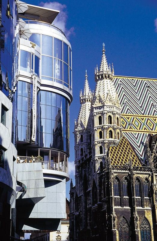 Haas house and St. Stephan's Cathedral, Vienna, Austria