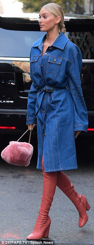 Fur real! Adding a quirky touch, former basketball player carried along a furry pink purse...