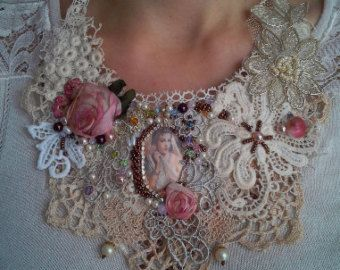necklace jewelry baedwork necklace lace vintage romantic jewelry beadwork boho jewelry silk flowers tassels faux pearl embrodery by shabbyromanticart. Explore more products on http://shabbyromanticart.etsy.com