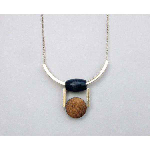 Tribal Necklace, Wooden Necklace, Statement Bohemian Necklace, Curved... (97 ILS) ❤ liked on Polyvore featuring jewelry, necklaces, chain necklace, gold bar necklace, brown bead necklace, boho necklaces and wood bead necklaces