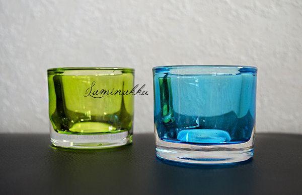 Lasiset, herkullisen väriset tuikkukipot joissa huurretut sisäpinnat. Keväistä raikkautta kodin sisustukseen - tai miksei ympäri vuoden piristykseksi.. Koko 65x55mm.  Candle cups made of glass. These delicious colors bring nice spring freshness to your home - all around the year! Size of these fabulous things is 65x55mm.  Lime green: http://www.kauppa.luminukka.fi/product_info.php?cPath=23_143&products_id=821