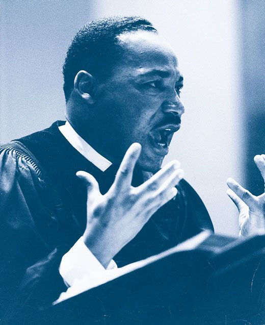 King was famous for his speech-making abilities. His style came from a long tradition in black preaching. He used biblical references, symbolic language, and emotional appeals to make his points. He also used a lively call-and-response delivery to persuade and excite people. From our Topic Who Was Martin Luther King Jr.? | Kids Discover