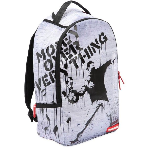 Sprayground Women Money Over Everything Backpack ($84) ❤ liked on Polyvore featuring bags, backpacks, multicolor, multi colored backpacks, water resistant bag, multi coloured bags, zip top bag and day pack rucksack