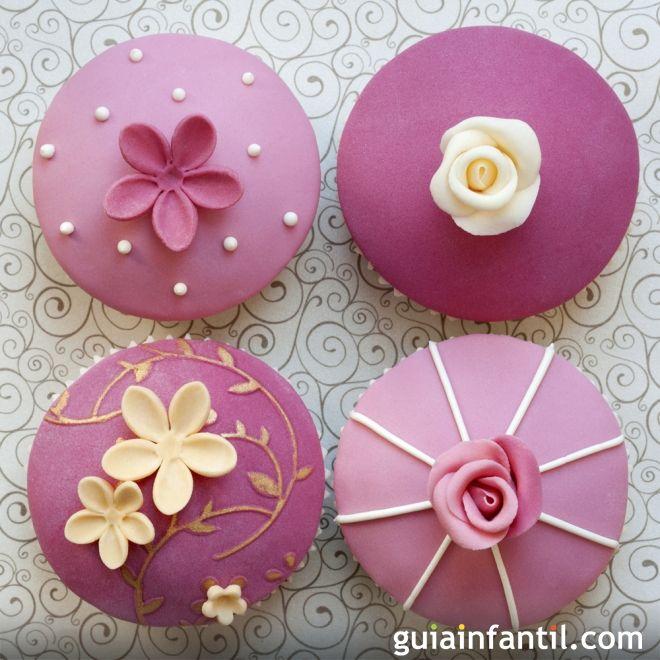 Cupcakes decorados con fondant para el Día de la Madre - Cupcakes para el Día de…