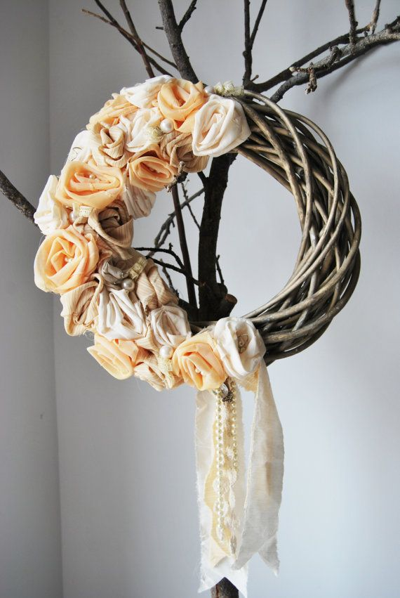 wreath with fabric flowers