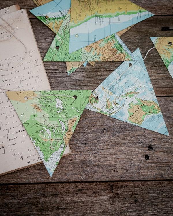 Craft kit - Vintage atlas map paper bunting - DIY atlas decoration. $19.95, via Etsy.