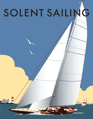 Solent Sailing. By Illustrator Dave Thompson wholesale fine art print