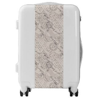 Handwritten vintage seamless pattern carry on luggage