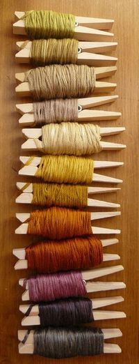 Use clothespins to wrap those scraps of yarn you don't want to throw away. Perfect way to organize your yarn collection.