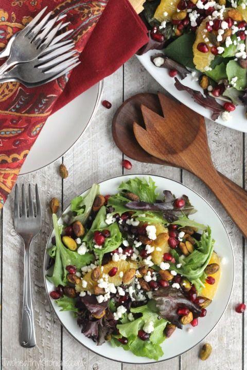 Christmas Salad with Citrus-Champagne Vinaigrette Recipe {www.TwoHealthyKitchens.com}
