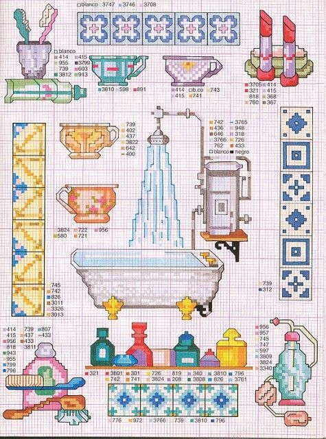 Bathroom crochet patterns. Would be cute details on a hand towel.