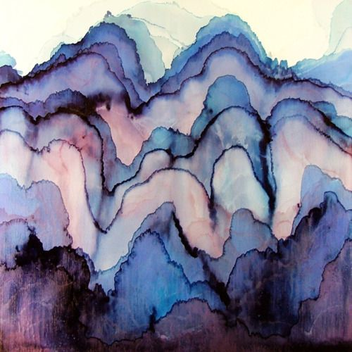 melting mountains: Watercolor Art, Tobias, Mood Swings, Watercolor Paintings, Blue, Waves, Texture, Watercolors, Water Colors