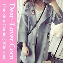 Wholesale bulk OEM Grey Korean Style Badge Detail Open Front Cardigans Best Buy follow this link http://shopingayo.space