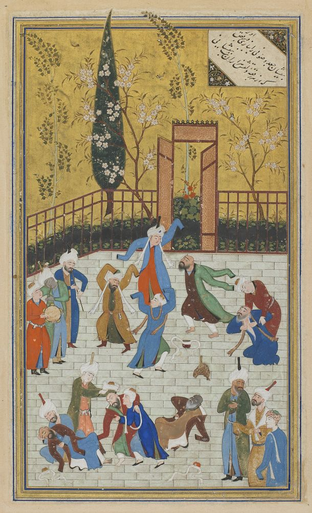 Folio from a Divan (collected poems) by Hafiz (d. 1390); recto: Sufi dance; verso: text, Poem of God, 1523, Afghanistan