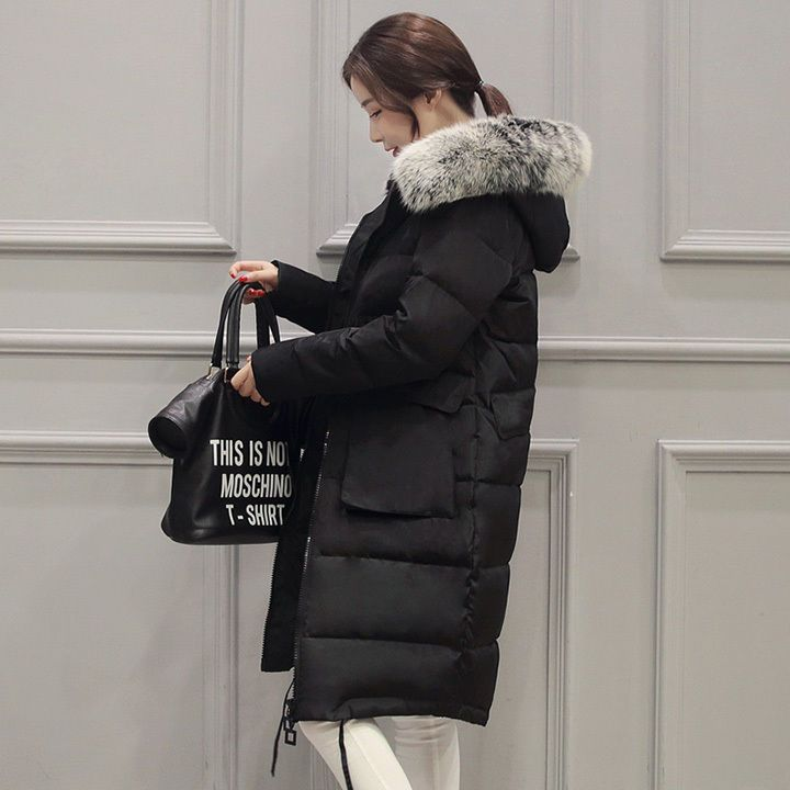 3 COLOR Winter Slim Long Fox Fur Collar hat Thick DOWN COAT Jacket S to 4XL gift #AIBEITI #BasicCoat