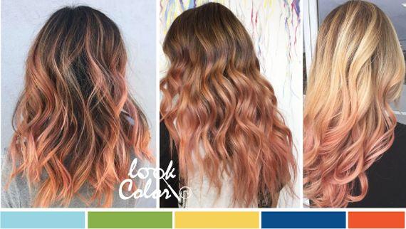 Персиковые пряди и кончики волос