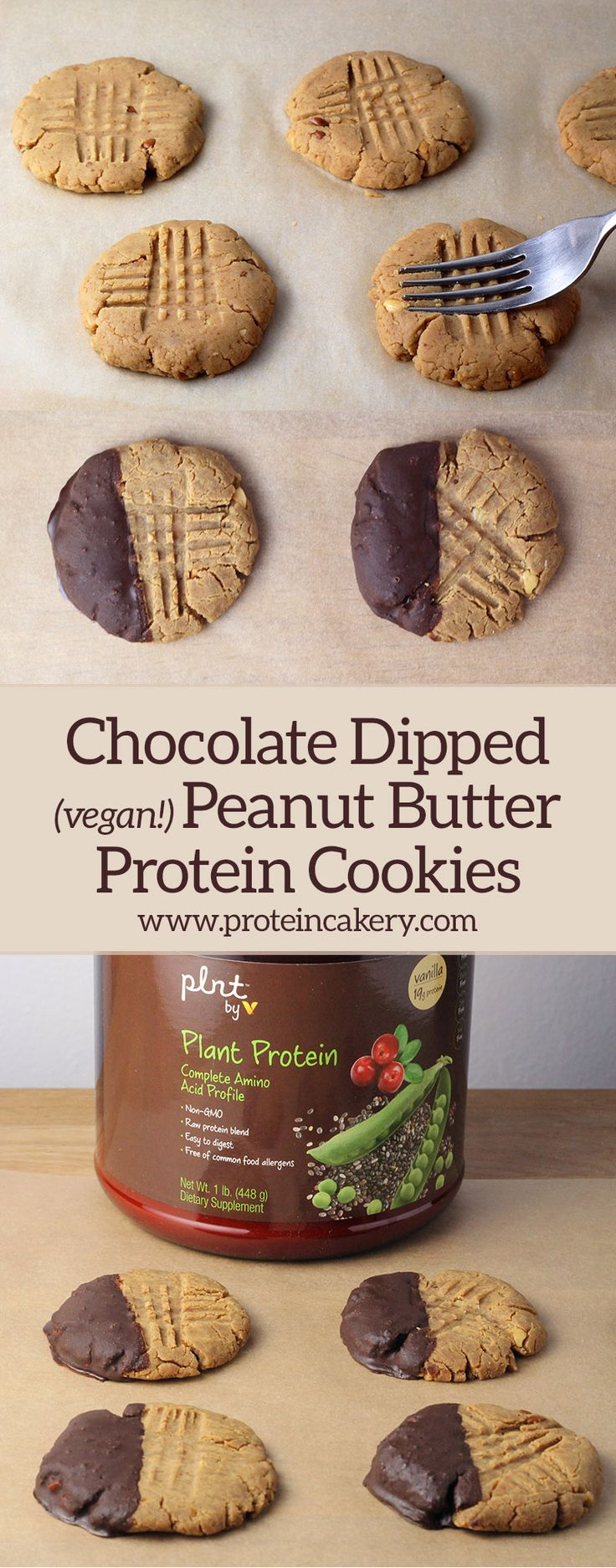 Chocolate Dipped Peanut Butter Protein Cookies - vegan, gluten free, low carb - Andréa's Protein Cakery