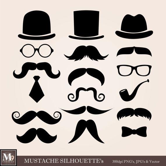 MUSTACHE Clip Art: Mustaches Clipart, Mustaches Download, Top Hat Clip Art Eyeglasses Neck Bow ...