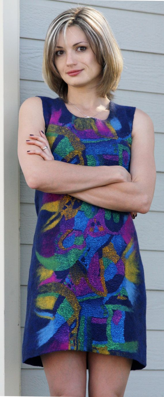 FASHION FELT * FIBER ART * FELTED DRESS * WOMAN DRESS * FELT CLOTHES  Eco style fashion one of a kind hand felted seamless cocktail blue dress with an abstract geometrical design. As all my felted garments, its seamless. Very well fitted, a little stretchy, comfortable to wear, classy, elegant and unique. Made with eco-friendly materials - silk, superfine merino wool. This hand felted dress is guaranteed to be one of a kind.  Will fit sizes XS -S (US size 2 - 6).  Bust::34 Length: 34 Hips…