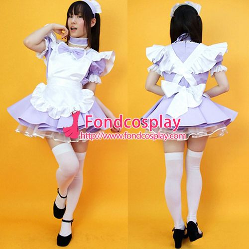 Sissy maid satin dress lockable Uniform cosplay costume Tailor-made[G2222]