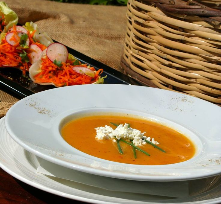 Cream potato soup with carrot and feta cheese flavored with tarragon. Paparouna Wine Restaurant & Cocktail Bar | Have a nice week!!!