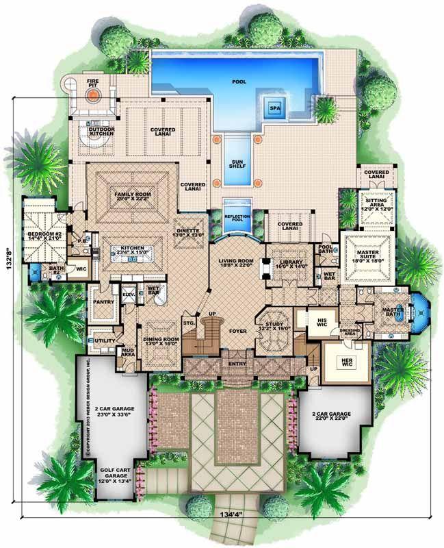 Planes de la casa de estilo Costeras - 8899 pies cuadrados de construcción Home, de 2 pisos, 5 dormitorios y 5 3 Baños, 4 Garaje puestos por planes de vivienda del monstruo - Plan de 55-239