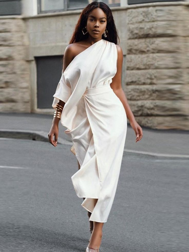 Incredibly Asymmetric Ankle-Length Three-Quarter Sleeve Plain High-Waist Dresses