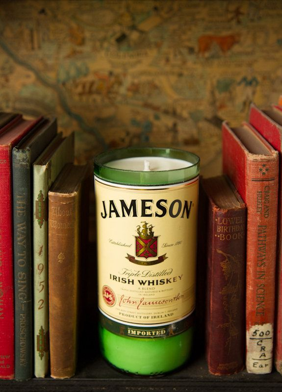 Love this idea! >> For the Bar? Repurposed Irish Whiskey Bottle Candle. $28.00, via Etsy.