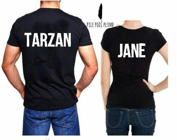 t -shirt couple homme et femme tarzan et jane