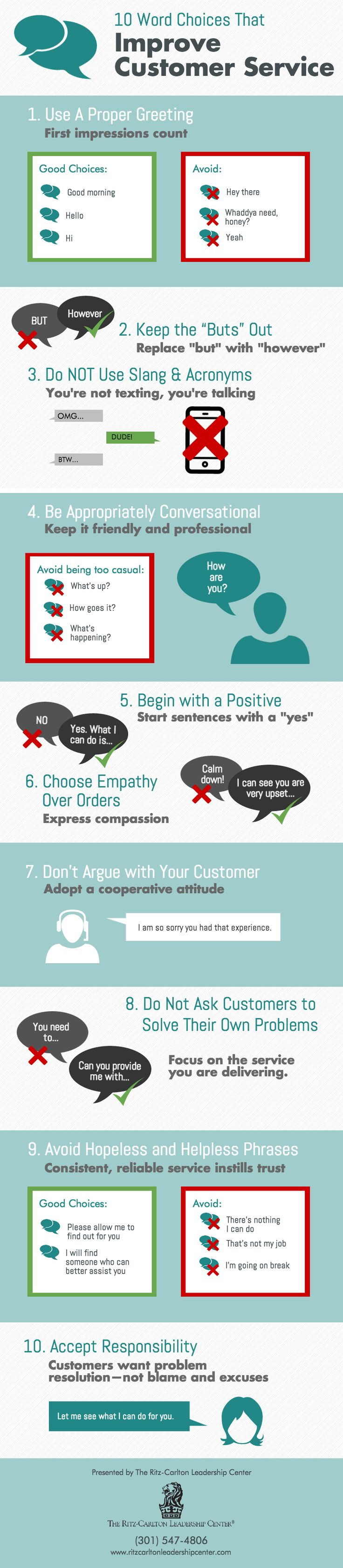 best ideas about customer service training this customer service infographic from the ritz carlton leadership center offers 10 word choices that will help you improve customer service skills more